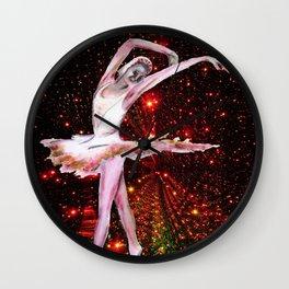 Cosmic Dancer , female figure dance art and stars Wall Clock