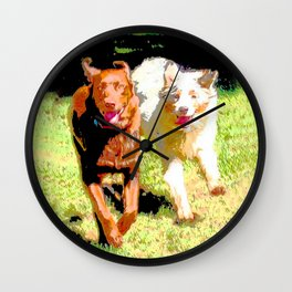 Dogs Running Abstract Wall Clock