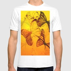Lovely butterflies in sunset color - summer beauties on orange background Mens Fitted Tee MEDIUM White