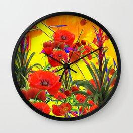 MODERN TROPICAL FLOWERS GARDEN DESIGN IN YELLOW-ORANGE COLORS Wall Clock