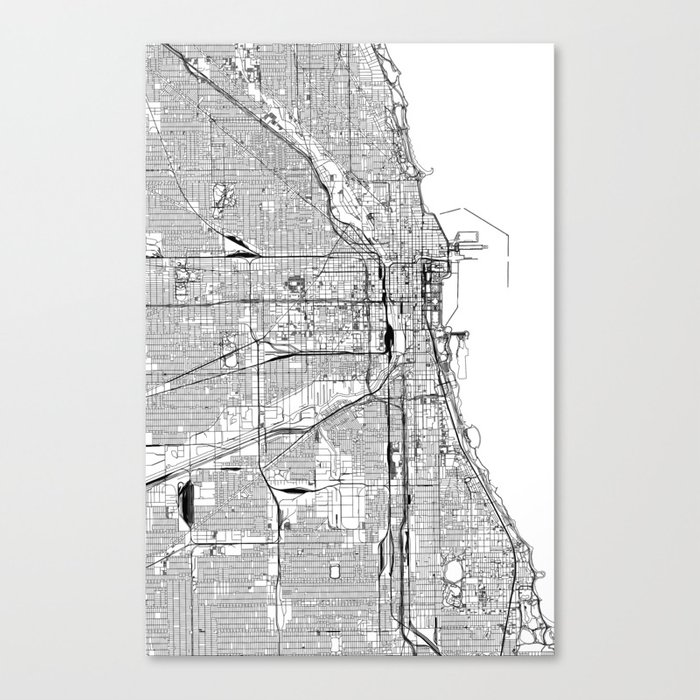 Chicago Map Canvas.Chicago White Map Canvas Print By Multiplicity Society6