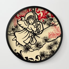 angel bringing a happy holiday message Wall Clock