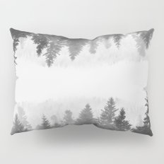 Black and white foggy mirrored forest Pillow Sham