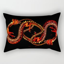 Ouroboro Twin Red Dragons Rectangular Pillow