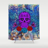 sugar skull Shower Curtains featuring Sugar Skull by haroulita