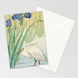 Egret and blue swamp flowers - Vintage Japanese Woodblock Print Stationery Cards