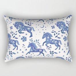 Delft Blue Horses Rectangular Pillow
