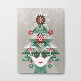 Christmas woman tree Metal Print