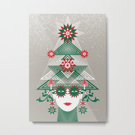 Christmas woman tree Metal Print