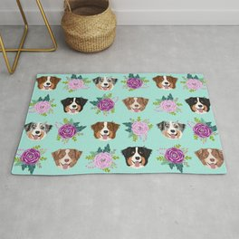 Australian Shepherd dog breed dog faces cute floral dog pattern Rug
