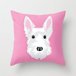White Scottie Dog on Pink Background Throw Pillow