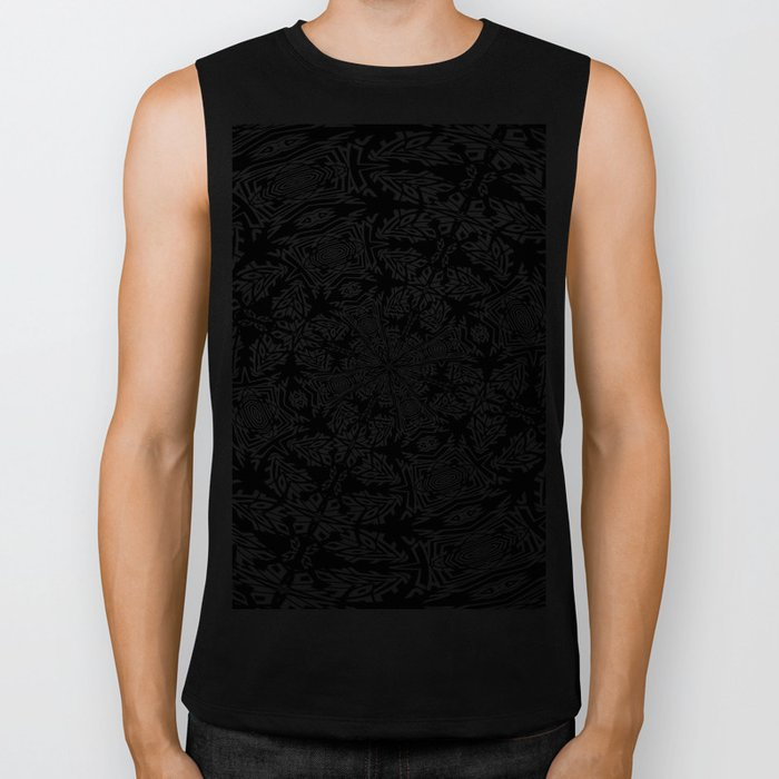 Fallen Leaves Black and White Kaleidescope Biker Tank
