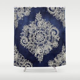 Cream Floral Moroccan Pattern on Deep Indigo Ink Shower Curtain