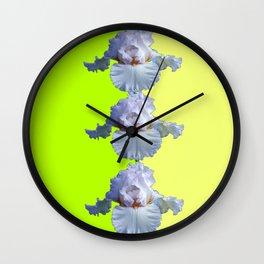 SNOW WHITE SPRING IRIS  GREEN-YELLOW  FLOWERS ART Wall Clock