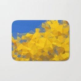 Blooming tree Geometric yellow and blue Bath Mat