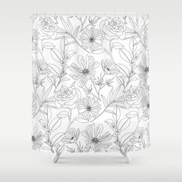 stylish garden flowers black outlines design Shower Curtain