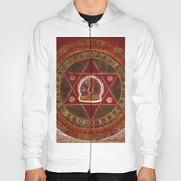 Vajrayogini stands in the center of two crossed red triangles Hoody