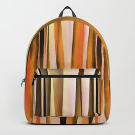 Orange Brown and Peach Autumn Stripy Lines Pattern Backpack