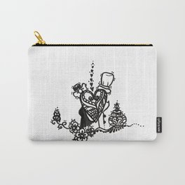 35. Man and Woman in Love with Henna Peacock Heart Carry-All Pouch
