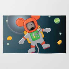 Space Mouse floating in space Rug