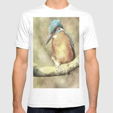 Stunning Kingfisher In Watercolor Mens Fitted Tee MEDIUM White