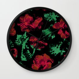 Abstract pattern . Red poppies. Wall Clock