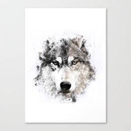 Wolf Face Painting Canvas Print