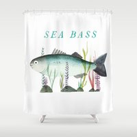 bass Shower Curtains featuring Sea Bass by Tom Knight