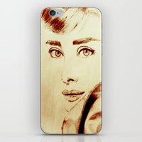 audrey hepburn iPhone & iPod Skins featuring Audrey Hepburn by Farinaz K.