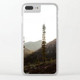 sunset in angeles crest forest Clear iPhone Case
