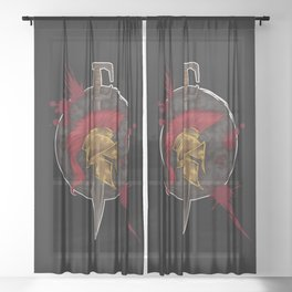 Heroic Spartan Emblem | Warrior Fighter Sheer Curtain