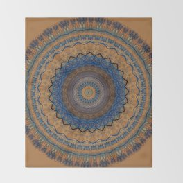 Rust Blue Mandala Design Throw Blanket