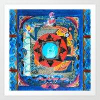 Ubud Blue Mandala Art Print