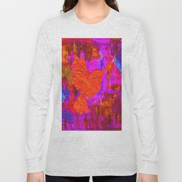 Humming Bird - Bright Red and Purple Long Sleeve T-shirt