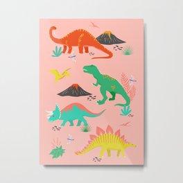 Jurassic Dinosaurs on Pink Metal Print