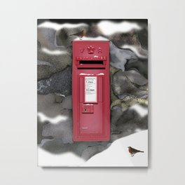 Red Post Box, Snow and Robins [Traditional Christmas Illustration] REMIX 1 Metal Print