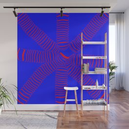 8 arms, red on blue Wall Mural
