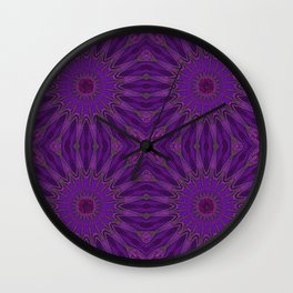 Purple Magenta pinwheel Flowers Wall Clock