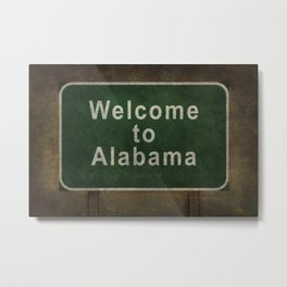 Alabama roadside sign illustration, with distressed ominous background Metal Print