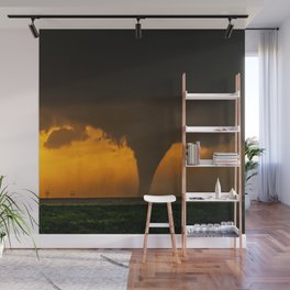 Silhouette - Large Tornado at Sunset in Kansas Wall Mural