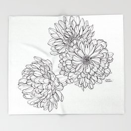 Ink Illustration of Summer Blooms Throw Blanket