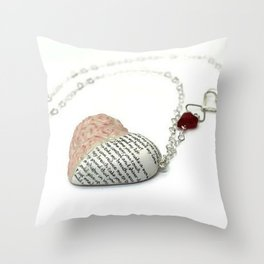 Heart pendant with poem Throw Pillow