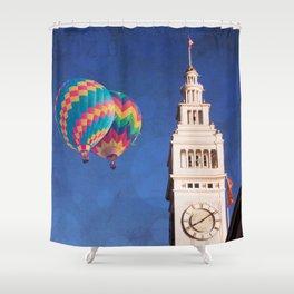 Embarcadero Clock Tower and Hot air Balloons Shower Curtain