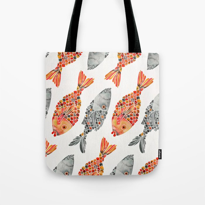 Indonesian Fish Duo – Grey & Orange Palette Tote Bag