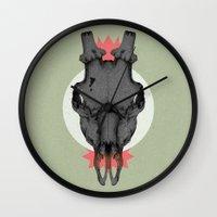 animal skull Wall Clocks featuring ANIMAL SKULL by Stefania Grippaldi - IDEAS FLY studio