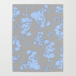 Pale Blue Floral Pattern on Medium Grey Burlap Texture Vector Art Poster