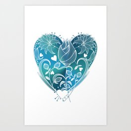 White Inked Floral Heart - Blues Art Print