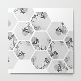 Hexagon Flowers. Metal Print
