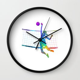 Woman volleyball player in watercolor Wall Clock