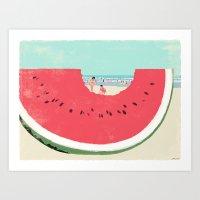 watermelon Art Prints featuring Watermelon by Tatsuro Kiuchi